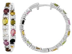3.00ctw Oval Multi Tourmaline And .25ctw Round White Zircon Sterling Silver Hoop Earrings
