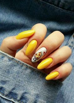 To make your yellow nail art design look more special, you can also incorporate some patterns like strips, polka dots, leopard prints and zebra prints into your nails. Yellow Nails Design, Yellow Nail Art, Pastel Yellow, Neon Yellow, Mustard Yellow, Yellow Style, Yellow Flowers, Best Acrylic Nails, Acrylic Nail Designs