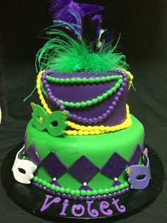 Mardi Gras theme birthday cake
