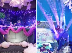 dessert table & fiber optic wands for Winter Butterfly Birthday - via the Creative Orchard