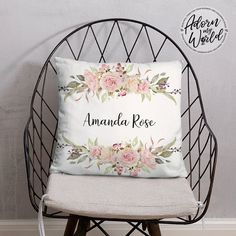 Personalized Name Pillow, Floral Name Pillow, Custom Pillow, Name Cushion, Gift for Her, Custom Made Pillow, Gift for Girls, Baby Girl Gift