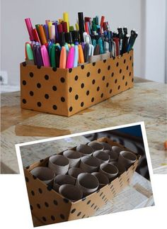 DIY: Save those TP rolls and a shoe box for a DIY pen, pencil, marker organizer. Cover the shoe box in pretty contact paper from the Dollar Tree.