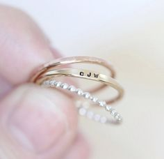 Personalized ring Custom ring Engraved por AdorablySimpleDesign