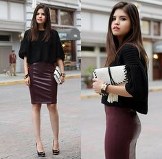 Oasap Oversized Sweater, Dorothy Perkins Clutch, Andrea Pencil Skirt, Alice And Olivia Wedge Pumps