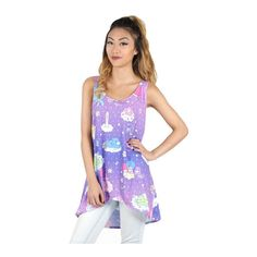 Little Twin Stars x Care Bears Tank Clouds ($60) ❤ liked on Polyvore featuring tops, star print shirt, polyester shirt, loose fitting tanks, purple top and purple tank top