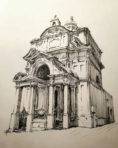 By mark poulier. Very basic lines created details of this church with ease By mark poulier. Building Drawing, Building Sketch, Building Art, Church Building, House Architecture Styles, Architecture Sketchbook, Architecture Art, Art Sketches, Art Drawings