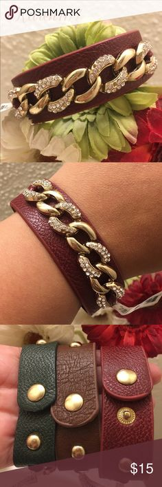 ✨New Red & Gold pave Chain Bracelet ✨ New Red leather bracelet with Gold pave Chain. Adjustable closure. ‼️Bundle & Save ‼️1 Available‼️ Karen1177 Jewelry Bracelets
