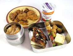 Easy lunch box ideas: sweet-and-sour chicken; Australian yogurt; applesauce; Indian sweets; kiwi berries; and gold and chocolate covered pretzel