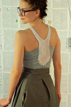 lace inset Racer Back Tank grey with black pin dots by sewmoe, $42.00