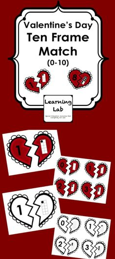 Valentine's Day Ten Frame Match uses adorable broken heart clipart from Creative Clips and allows students to match numbers to ten frames for numbers 0-10.