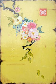 """Kathe Fraga paintings, inspired by the romance of vintage Paris and Chinoiserie Ancienne. """"Vintage Goyard"""", 24x36 on aged frescoed panel. www.kathefraga.com"""