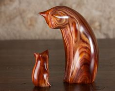 Absolutely stunning Cat & Mouse sculpture by Perry Lancaster. Wooden carving made from really beautiful wood with gorgeous naturally occurring colours running through the grain.