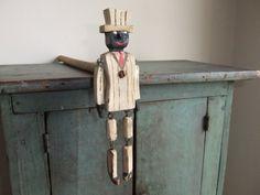 Antique Folk Art Dancing Man Toy Ragtime Wooden Jig Doll.