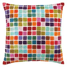 Colorful Squares Embroidered Pillow - i pinned this yesterday & it was on joss & main today! i caved again! for our  master!