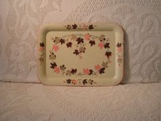 Vintage Metal Tray With Pink and Brown Leaves