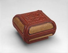Box with Flowers and Birds Period: Ming dynasty (1368–1644) Date: early 17th century Culture: China Medium: Carved red lacquer; gilded basketry panels