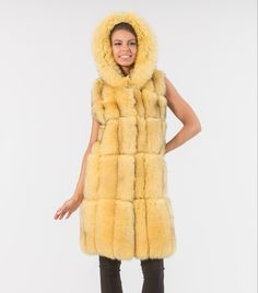 Yellow Fox Fur Vest     #yellow #mink #fur #vest #real #style #realfur #elegant #haute #luxury #chic #outfit #women #classy #online #store