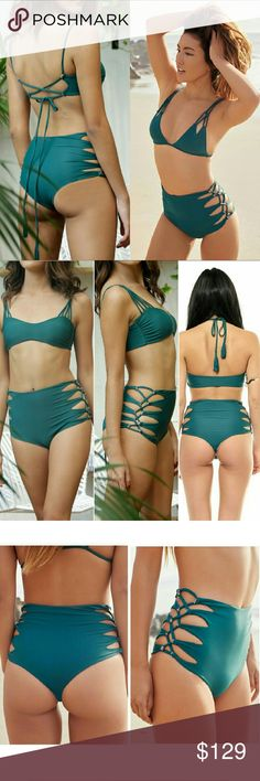 Acacia seaweed queens swimwear bikini bottom green Rare Queen's high waisted cutout strappy side bikini bottom in seaweed green by acacia swimwear. Small. The high-waist Queens bottom features a cheeky cut and interlaced cut-outs down both hips. No trade please. The price is firm. Price reflects high percentage posh commission fees acacia swimwear Swim Bikinis