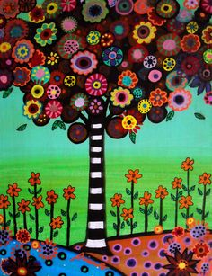 Mexican Tree of Life Happy Folk Art Flowers Blooms by prisarts