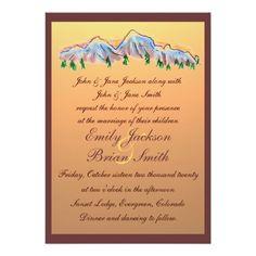 """Sunset mountain design autumn wedding invitations 5"""" x 7"""" invitation card"""