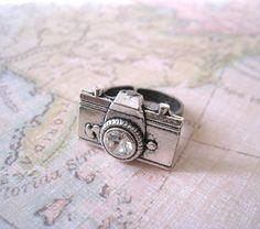 Antique Silver Camera Ring by lunashineshine on Etsy, $8.00