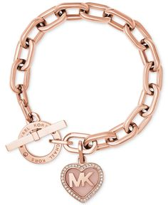 Michael Kors Rose Gold-Tone Pavé Logo Heart Toggle Bracelet - Michael Kors - Jewelry & Watches - Macy's