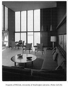 paul hayden kirk   Poll residence interior showing living room, Mercer Island, 1959