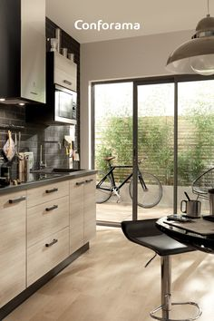 Discover our TWIST kitchen as well as our FILIP bar stools! Perfect for a good start to the day 📰☕ kitchen stool # decoration Kitchen Vinyl, Home Decor Kitchen, Interior Architecture, Interior Design, Black Kitchens, Beautiful Kitchens, Kitchen Backsplash, Home Projects, Small Spaces