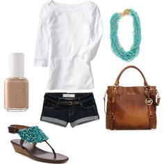 Untitled #90, created by mirapaigew on Polyvore...purse, shirt, necklace and shorts