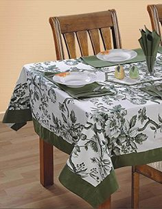 ShalinIndia Square Tablecloth 60 X 60 Inch for 4 Seater Center or Dining Table in Indian Cotton Fabric Light Moss Green Border Floral Dining Table Cloth, Table, Interior, Table Linens, Table Accessories, Table Cloth, Shabby Chic Pillows, Home Decor, Diy Table Decor