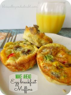 We love these egg breakfast muffins! Make them ahead and just pop them in the microwave.