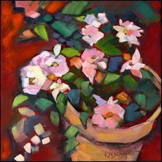 Just Landscape Animal Floral Garden Still Life Paintings by Louisiana Artist Karen Mathison Schmidt: Patio Rosesfloral patio paintingbright impressionist roses in a flower pot