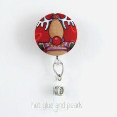 Rudolph Christmas Badge Reel 4 Holiday badge by HotGlueAndPearls