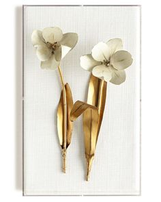 Tommy Mitchell Original Gilded Tulip on White Linen Metal floral sculpture. Designed and created by hand. x x Signed and dated by Tommy Mitchell. Made of copper, brass, and steel. Mounted on linen. Hung in acrylic boxes. Acrylic Wall Art, Acrylic Box, Orchids Painting, Graduation Party Decor, Lily Of The Valley, Handmade Home Decor, Wall Art Decor, Room Decor, Artsy