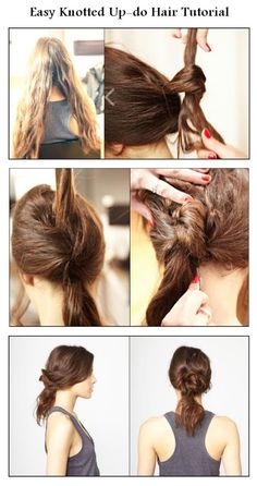 DIY Easy Knotted Updo Hair Hairstyle