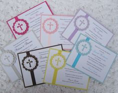 Baptism, 1st Communion, Christening, Dedication, Handmade Invitation Religious