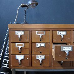 Vintage Library Card Catalog on Stand     $495.00