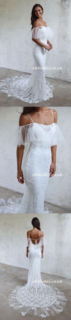 Spaghetti Straps Wedding Dress, Lace Wedding Dress, Off Shoulder Bridal Dress, Tulle Wedding Dress, LB0940 #okbridal