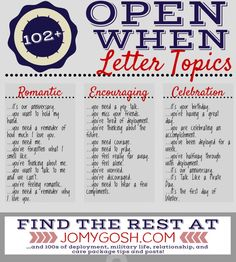 102 Open When Letter Topics Birthday Ideas