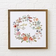Sale ends soon. Look closely at this floral wreath wall art and you'll spy with your little eye tons of hidden pictures. Kids Wall Decor, Art Wall Kids, Framed Wall Art, Wall Art Decor, Canvas Wall Art, Wall Art Prints, Crate And Barrel, Floral Wreath Watercolor, Watercolor Flowers