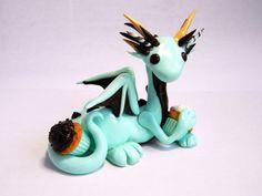 Mint Dragon Figurine  Mint Chocolate Dragon  Clay by OhLuckyCharm, $45.00