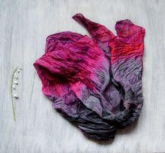 scarf burgund grey scarf red grey  hand-painted от batikelena