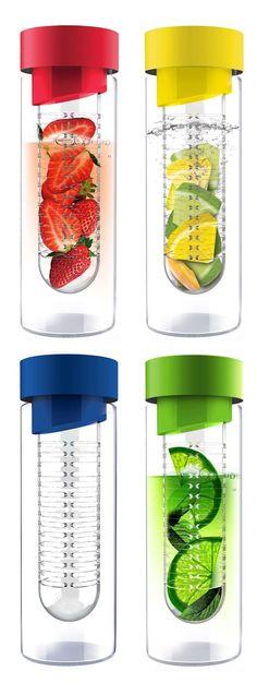 Fruit infuser water bottle // use it for refreshing limes, lemons, berries etc. Innovative! #product_design