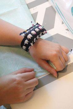 Sew a Wrist Pincushion from scrap fabric! Tutorial at ThinkCrafts.com