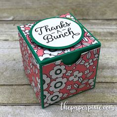 Today's project is an treat box created with the Envelope Punch Board including a video tutorial! Isn't it the cutest? It measures just a hair over 1-1/2″ (H) x 1-1/2″ (W) x 1-1/2″ (D). I originally saw this project by fellow German demonstrator Jana Trautmann on her blog Janas Bastelwelt. The only challenge is her…