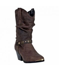 Women's Olivia Dark Brown Pigskin Cowboy Boots