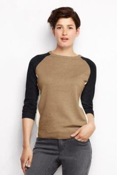 Women's 3/4-sleeve Supima Raglan Colorblock Sweater - I love this sweater.  Just ordered it, can't wait to try it on.