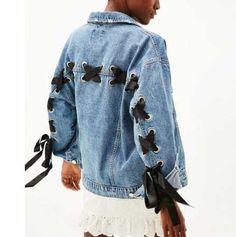 Fashion lace up bow denim jacket blue clothing for lady