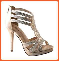 De Blossom Collection Marna-75 Rhinestones Strappy Pumps Sandals Nude 9 - Sandals for women (*Amazon Partner-Link)