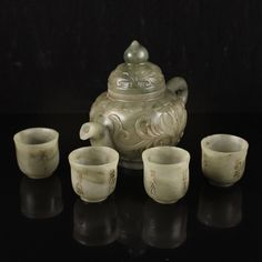 A Set Superb Chinese Natural Hetian Jade Low Relief Teapot & Four Cup